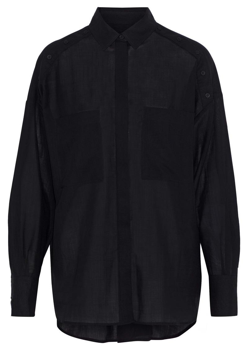 Iro Woman Bocka Button-detailed Wool-gauze Shirt Black