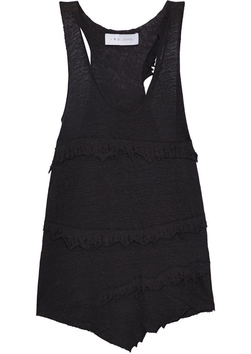 Iro Woman Boham Distressed Slub-linen Tank Black