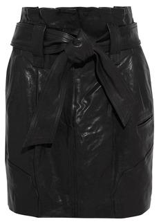 Iro Woman Bolsy Belted Pleated Leather Mini Skirt Black