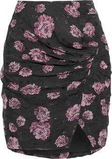 Iro Woman Bootab Ruched Floral-print Fil Coupé Chiffon Mini Skirt Forest Green