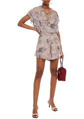 Iro Woman Brantes Ruffle-trimmed Printed Georgette Playsuit Taupe