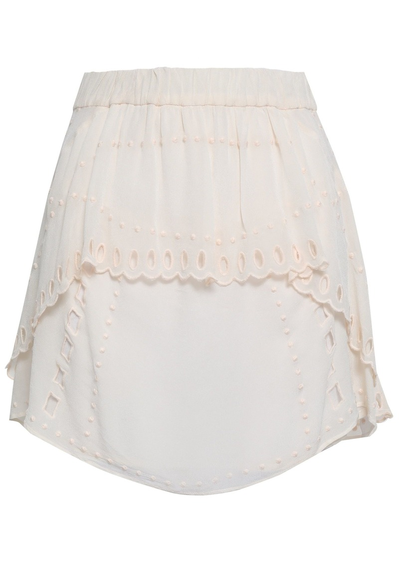 Iro Woman Broderie Anglaise Georgette Mini Skirt Pastel Pink
