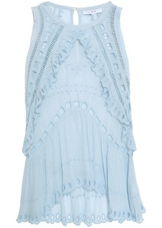 Iro Woman Broderie Anglaise-trimmed Crepe De Chine Top Sky Blue