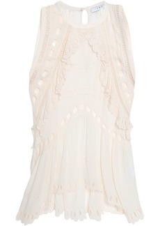 Iro Woman Broderie Anglaise-trimmed Crepe De Chine Top Blush