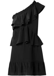 Iro Woman Brooka One-shoulder Ruffled Washed-silk Mini Dress Black