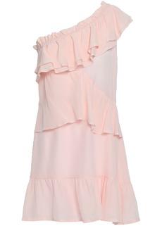 Iro Woman Brooka One-shoulder Ruffled Washed-silk Mini Dress Pastel Pink