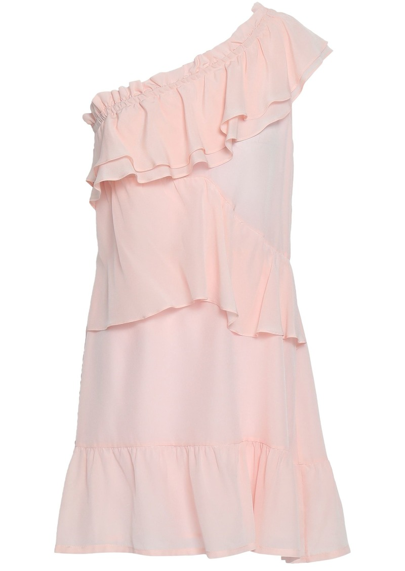 Iro Woman Brooka One-shoulder Ruffled Washed-silk Mini Dress Pastel Pink