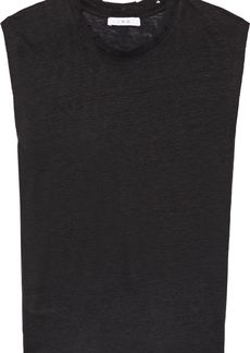 Iro Woman Broska Distressed Slub Linen-jersey Top Black