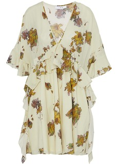 Iro Woman Button-detailed Ruffled Floral-print Voile Mini Dress Ecru