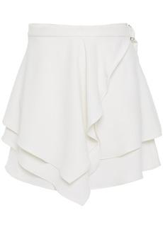 Iro Woman Cabred Wrap-effect Layered Crepe Mini Skirt White