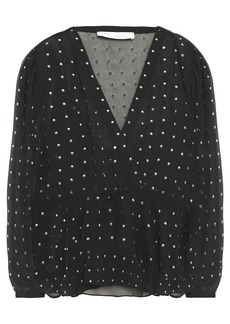 Iro Woman Cadmos Wrap-effect Studded Chiffon Blouse Black
