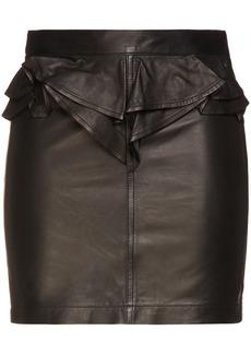 Iro Woman Calassa Ruffled Leather Mini Skirt Black