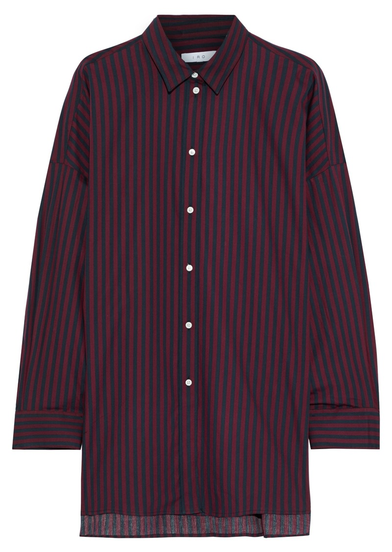 Iro Woman Camille Striped Cotton-poplin Shirt Burgundy