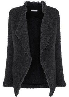 Iro Woman Campbell Frayed Bouclé-knit Jacket Dark Gray