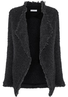 Iro Woman Campbell Frayed Bouclé-knit Jacket Dark Gray