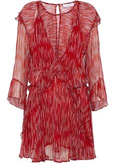 Iro Woman Canyon Layered Printed Georgette Mini Dress Red