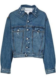 Iro Woman Distressed Denim Jacket Mid Denim