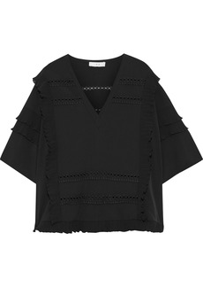 Iro Woman Cauland Ruffled Georgette-trimmed Crepe Top Black