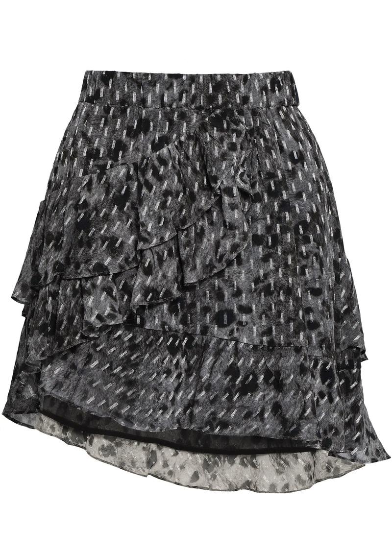 Iro Woman Wrap-effect Leopard-print Fil Coupé Chiffon Mini Skirt Dark Gray