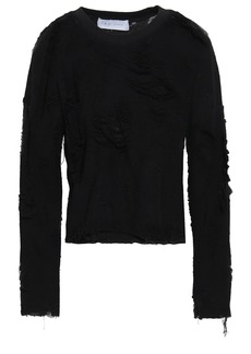Iro Woman Distressed French Cotton-blend Terry Top Black