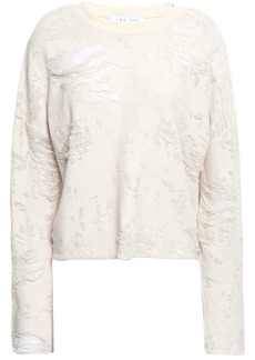 Iro Woman Cenix Cropped Distressed Cotton-blend Terry Sweatshirt Ecru