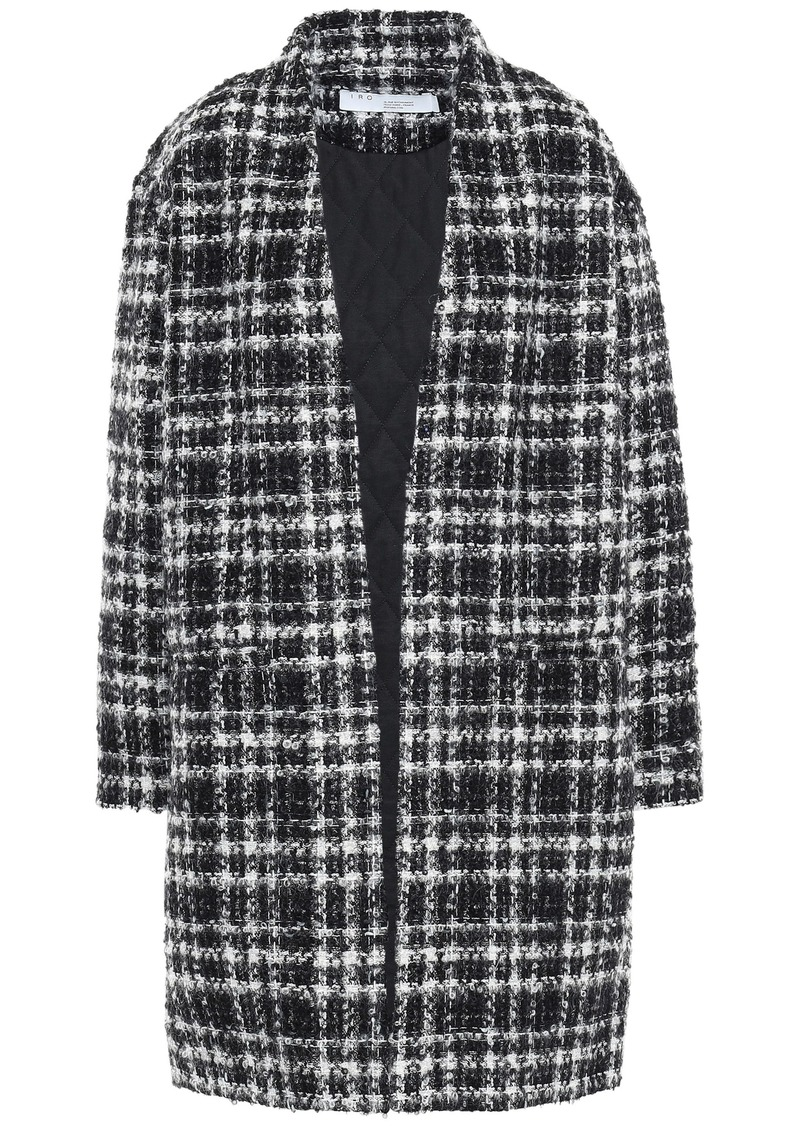Iro Woman Twisted Metallic Checked Bouclé-tweed Coat Black