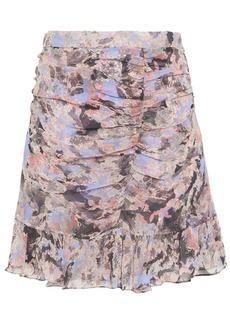 Iro Woman Chronic Ruched Floral-print Crepon Mini Skirt Light Blue