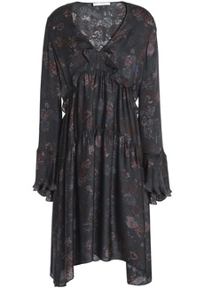 Iro Woman Ciclone Gathered Floral-print Silk Crepe De Chine Dress Charcoal
