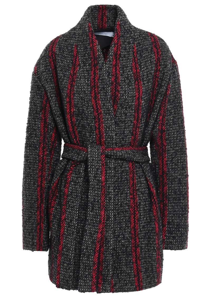 Iro Woman Circus Belted Striped Wool-blend Coat Charcoal