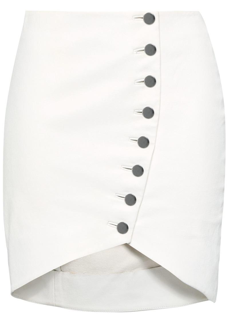 Iro Woman Clefa Button-detailed Leather Mini Skirt White
