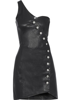 Iro Woman Clemay One-shoulder Leather Mini Dress Black