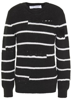 Iro Woman Cleon Distressed Striped Knitted Sweater Black