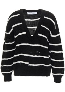 Iro Woman Clymer Distressed Striped Knitted Sweater Black