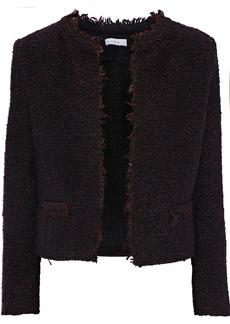 Iro Woman Coffey Frayed Bouclé-tweed Jacket Merlot