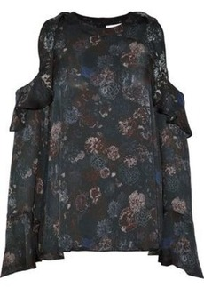 Iro Woman Cold-shoulder Ruffled Floral-print Silk-satin Blouse Midnight Blue
