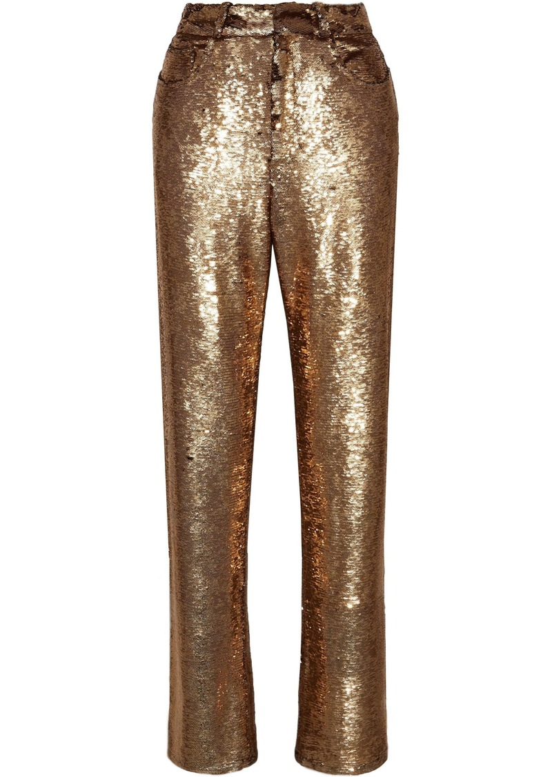 Iro Woman Construction Sequined Crepe Straight-leg Pants Gold