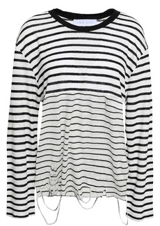 Iro Woman Coyak Distressed Striped Slub Linen-jersey Top White