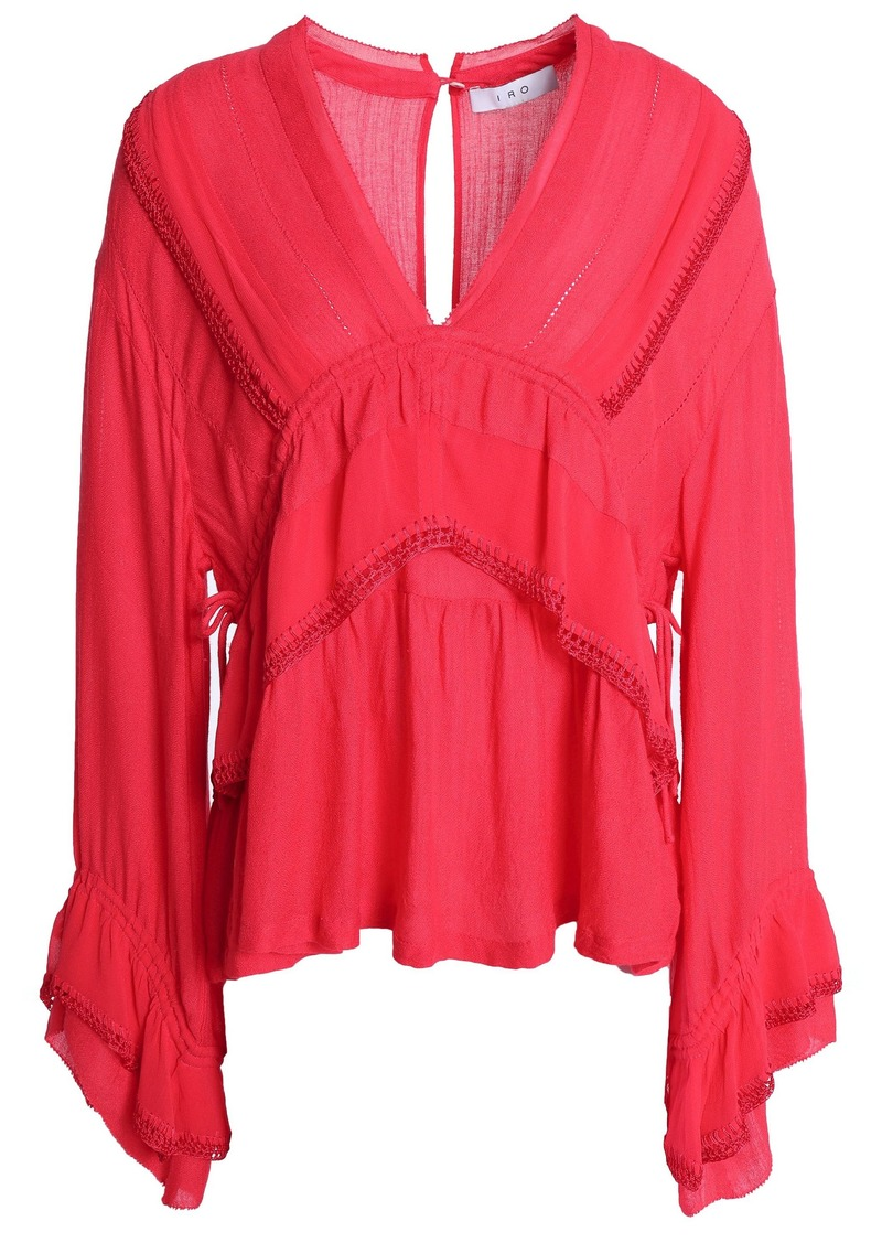 Iro Woman Pointelle And Macramé-trimmed Layered Gauze Blouse Coral