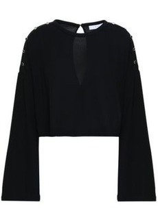 Iro Woman Cropped Button-detailed Crepe Top Black