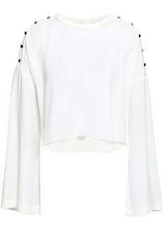 Iro Woman Cropped Button-detailed Crepe Top White