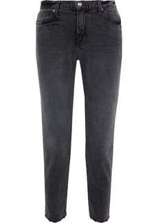 Iro Woman Cropped Mid-rise Tapered Jeans Dark Gray