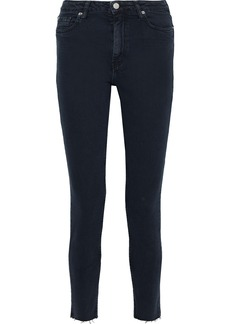 Iro Woman Cropped Frayed Mid-rise Skinny Jeans Midnight Blue