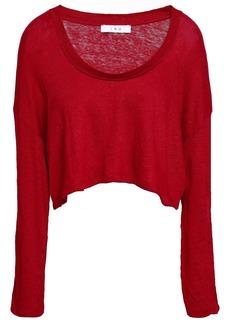 Iro Woman Cropped Lace-up Slub Linen-jersey Top Crimson