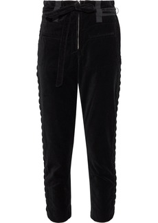 Iro Woman Cropped Lace-up Velvet Slim-leg Pants Black