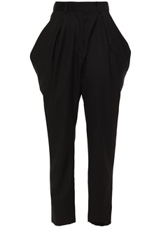 Iro Woman Cropped Pleated Wool-twill Tapered Pants Black