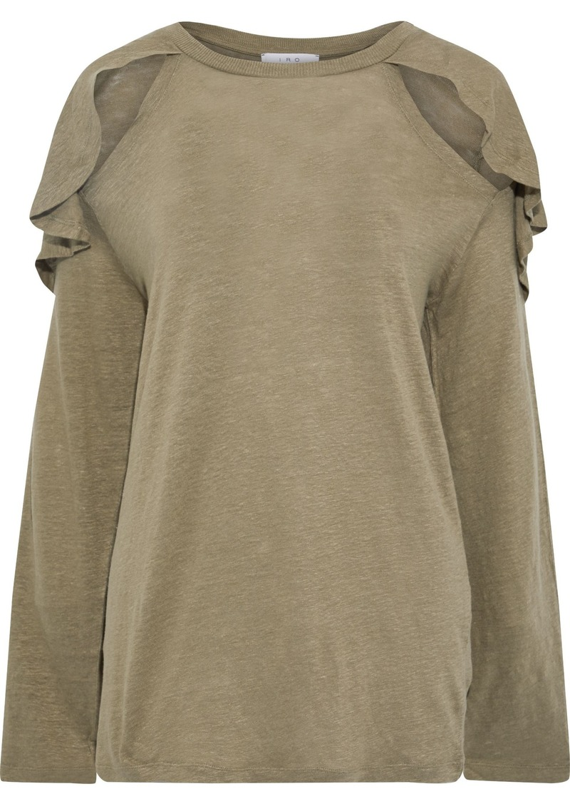 Iro Woman Cutout Ruffled Slub Linen-jersey Top Sage Green