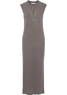 Iro Woman Daisy Lace-up Slub Linen-jersey Maxi Dress Gray