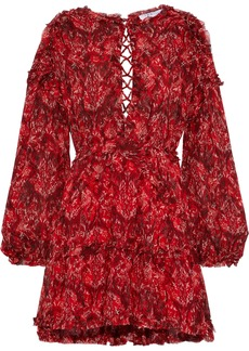 Iro Woman Darling Open-back Printed Crepe De Chine Mini Dress Red