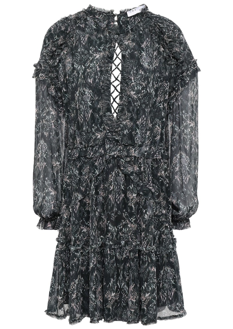 Iro Woman Darling Open-back Printed Gauze Mini Dress Black