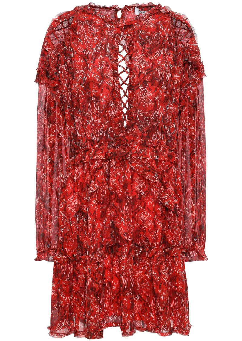 Iro Woman Darling Open-back Printed Gauze Mini Dress Tomato Red
